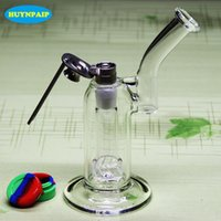 """Wholesale Soldier Water - Double recycler glass bongs water pipes glass pipe glass bong 8.2"""" size 18.8mm joint With Soldier GR2 Domeless Adjustable Titanium Nail"""