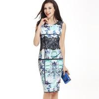 Wholesale Lace Slim Fitting Skirt - 2017 summer new stylish Lace stitching graffiti print dress hip package pencil sleeveness skirt slim waist bodycon fitting bodywear