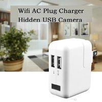 Wholesale Wireless Security Cameras Usb - HD Wireless wifi charger Spy Camera UK EU US AC Adapter Hidden Camera Plug USB Phone Charger Spy Camcorder Home security CCTV Camera