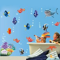 Wholesale Carton Wall Stickers - Wholesale- Free Shipping 1pcs Hot Removable Wall Stickers sea fish carton bathroom nursery home decor decals Pvc Stickers 617