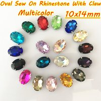 Wholesale sew crystals red resale online - 10x14mm Multicolor DIY Oval Glass Crystal Sew On Rhinestone With Claw For Clothing Bags Accessories