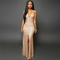 Wholesale Skirts For Clubbing - Special Geometric Maxi Dresses for Ladies Attractive Spaghetti Strap Sleeveless Women Ball Gown Skirt with Sequins
