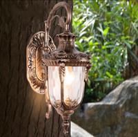 Wholesale wall sconce light bronze - Outdoor retro wall lamp light classic vintage waterproof wall sconce coach carriage light bronze copper outdoor wall lamp light LLFA