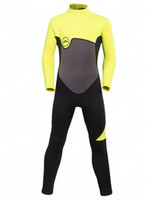 Wholesale Neoprene Swimming - New 2mm Teenages long sleeve one piece diving wetsuit boys snorkelling wear girls surfing swim suits