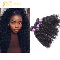 32 inç sapık kıvırcık saç toptan satış-JYZ Brezilyalı Sapıkça Kıvırcık Bakire Saç 3 Adet / grup Işlenmemiş Perulu Bakire Saç Afro Kinky Kıvırcık Malezya Moğol İnsan Saç Uzantıları