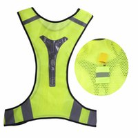 Wholesale Reflective Vest Led - Adjustable Unisex High Visibility Security Reflective Vest Super Thin Breathable Night Running Cycling LED Reflective Vest