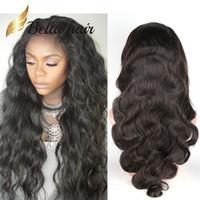 encantos de onda al por mayor-Pelucas de pelo para mujeres negras onda del cuerpo animoso encantadoras pelucas onduladas del cordón de la Virgen peruana del pelo humano pelo de Bella envío gratis