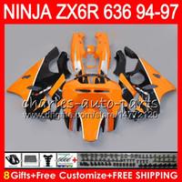 обтекатель для 96 zx6r оптовых-8Gifts 23Colors для Кавасаки ниндзя запросу ZX6R ZX636 94 95 96 97 на ZX 636 ZX в 6р оранжевый черный 33NO39 600CC на ZX-636 на ZX-6р 1994 1995 1996 1997 Зализа