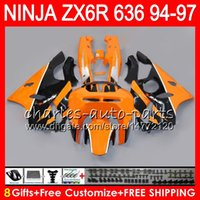zx ninja 95 toptan satış-KAWASAKI NINJA ZX636 ZX6R 94 95 96 97 Için 8 Hediyeler 23 Renkler ZX 636 ZX 6R turuncu siyah 33NO39 600CC ZX-636 ZX-6R 1994 1995 1996 1997 Fairing