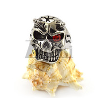 Wholesale Good Skeleton Faces - Stainless Steel One-eyed Red Zircon Eye Skull Ring With Solid Back with Crack and Horn on Face and Head Biting Tobacco Good Quality