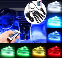 Wholesale Multicolor Led Lighting Strips - 4x LED Strip Light Lamp SMD 5050 Car Interior Decorative Atmosphere Strip Lights 12cm Each 12V+ Remote Control (Color: Multicolor)