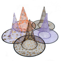 Wholesale Kids Colorful Cloth - Wholesale-1Pc Adult Children Black Witch Colorful Hat Halloween Costume Accessory Costume Cosplay Party Cap Decor Kids Games Gifts