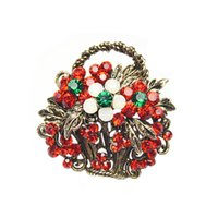 Wholesale Wholesale Christmas Gifts Baskets - Wholesale- Full Rhinestone Flower Basket Brooches for Women Vintage Brooch and Pin Fashion Jewelry Christmas Gift Hot Sale New Design