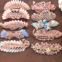Wholesale korean red hair for sale - Fashion Elagant Women HairClip Korean Exquisite Leaf Crystal Rhinestone HairClip Barrette Party Wedding Hairpin hair Accessories