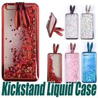 Wholesale Ear Dirt - For iPhone 7 6 6S Plus Liquid Quicksand Case Soft TPU Cute Electroplate Rabbit Ear Kickstand Bling Bling Case For Samsung S8 Plus