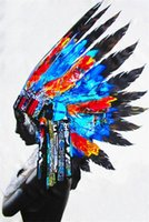Wholesale indian oil canvas resale online - Framed quot Street Pop Art Indian Chief Feather Head Yellow quot Hand painted Art Oil Painting On Thick Canvas Wall Decoration Multi sizes RK37