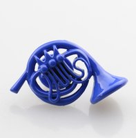 Wholesale Wholesale French Horn - Wholesale- 2016 New HIMYM How I Met Your Mother Blue French Horn Pins Women Men Brooches TV Series Jewelry