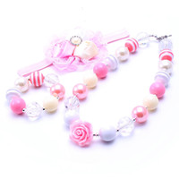 Wholesale Bubblegum Pink - MHS.SUNR Pink+White Necklace&Bracelet Headband 3PCS Set Birthday Party Gift Toddlers Girls Bubblegum Baby Kids Chunky Necklace Jewelry