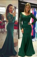 Wholesale Cheap Sheer Nylons - Dark Green Mermaid Prom Dresses with Long Sleeves Lace Satin Sweep Train Cheap Evening Dresses 2017 Elegant Formal Party Gowns Vestidos