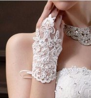 Wholesale Bridal Glove Ivory - Lace Appliques Bridal Gloves White Color Gloves 2016 Fashion New Bridal Wedding Accessories For Free Shipping