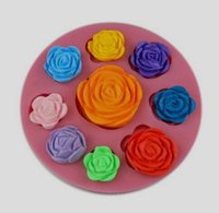 Wholesale silicone moulds for cake decorating resale online - 10PCS Nine roses shape Food Grade Silicone Mold Chocolate Cake Decorating Heat Safe Mould For Polymer Clay Crafts