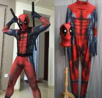 deadpool zentai toptan satış-Likra erkek Avengers Deadpool Kostüm Cosplay Orijinal Baskı Giyim 3D Baskı Tayt Zentai Iyi Geçirgenlik S-XXL