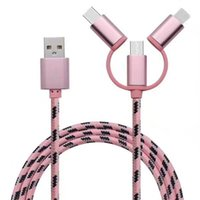 Wholesale Iphone Charging Cable Color - New Universal Android Phone High Quality USB Speed Charging Cable Micro USB 3 in 1 Multiple Nylon Braided USB Type-C Cord