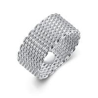 silber mesh 925 ringe großhandel-Arbeiten Sie 925 Sterlingsilberringschmucksachen handgemachtes Netz runde Ringmaschenringe Größe 6.7.8.9.10 um, kann gemischte Größe sein