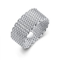 Wholesale Wholesale Net China - Fashion 925 Sterling Silver rings jewelry handmade net round rings mesh rings Size 6.7.8.9.10,Can be mixed size