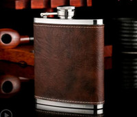 Wholesale Leather Wine Flask - Stainless Steel Hip Flask Leather Whiskey Wine Bottle Retro Engraving Alcohol Pocket Flagon With Box For Gifts