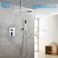 Wholesale Embedded Shower Head - Bathroom Shower Mixer Faucet Set 16 Inch Ceil Mounted Rain Shower Heads With Easy-Installation Embedded Box Shower Valve 002V-16T-3K