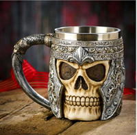 Wholesale Skull Mugs - 3D Striking Skull Warrior Tankard Viking Skull Beer Mug Double Wall Stainless Steel Gothic Helmet Drinkware Vessel Personalized Drinking Cup