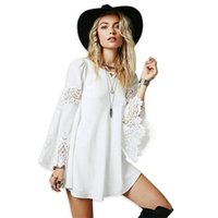 mini lose spitzenspitzen großhandel-Mode Frauen plus Größe A-Linie Kleid Langarm O-Ansatz mit hohlen Spitze lose Kleid Tops Bluse weiß schwarz Farben