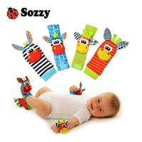 Wholesale Bright Color Socks - Wholesale- Sozzy hot Baby toy socks Baby Toys Gift Plush Garden Bug Wrist Rattle 4 Styles Educational Toys cute bright color