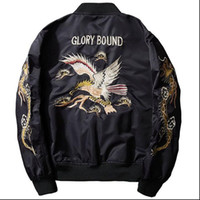 gestickte baseballjacke großhandel-Der Adler der neuen Art und Weise Männer Bestickte Baseball-Jacken-Bomber-Flugjacke Mäntel für Mann
