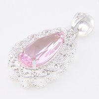 Wholesale Trendy Unique Wholesale Jewelry - Colares Ruby Jewelry High Quality Luckyshine 2pcs Lot Trendy Drop Pink Topaz Gemstone 925 Silver Pendant Unique Weddings Jewelry Gift