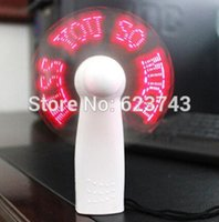 Wholesale Battery Operated Fan Wholesale - Wholesale-20Pcs Lot Battery Operated Portable Fans DIY Flexible LED Light Mini Fan Program Text Editing Reprogramme Advertising Message