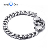 Wholesale Charm Handcuff - Hot Selling 205mm Stainless Steel Handcuff Bracelet Fashion Sports Men Bracelet & Bangle Casual Wrist Chain ( BA101407) 17401