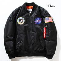 chaqueta de béisbol de los hombres al por mayor-Piloto de bombardero chaqueta de la capa delgada o gruesa chaquetas de los hombres MA1 Bombardero de la NASA del béisbol del bordado Coats M-XXL