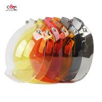 Wholesale Vintage Bubble Shield - Wholesale- free shipping 6 color available 3 4 open face vintage helmet transparent bubble shield visor lens black transparent