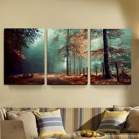 Wholesale road life - Modern 3 Panels Fog Forest Mystic Road Trees Landscape Giclee Canvas Print Wall Art Work to Hang For Living Room Home