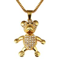 Wholesale Gold Jewellery For Men - Bear Pendant Necklace Men Hipster Hip Hop Jewelry Hiphop Gold Chains For Men Rock Necklaces Mens Jewellery