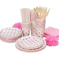 Wholesale Paper Party Set Plate Cup - Wholesale-Promotion White & Pink Polka Dots Tableware Party paper plate cups napkins paper straw Cutlery Set Knives Forks Spoons