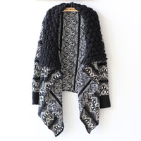 Wholesale Large Girls Winter Coats - Wholesale-Cardigan Women Winter 9016# Manufacturers Selling New European Style Large Irregular Shawl Lapel Cardigan Sweater Coat Girl 0904