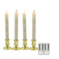 velas de navidad de control remoto al por mayor-Vela LED, 4pcs / lot Wick Wick Velas cónicas LED sin llama con control remoto Temporizador, Velas para la decoración de la boda de Navidad