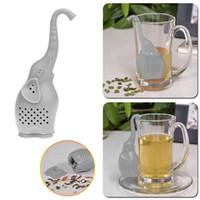 ingrosso teiere uniche-Unico filtro per tè d'elefante Simpatico filtro per infusore per teiera in silicone per tè Drinkware Interessante compagno di vita