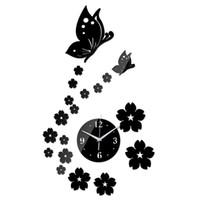 Wholesale wall clock safes resale online - promotion sale quartz led wall clock new butterfly art safe decor diy home decoration fashion the mirror living room
