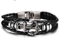 Wholesale Multi Layer Bracelet Woven - Hot sell Europe and the United States Anchor Woven Bracelet Multi-layer leather rope bracelet PK79
