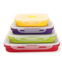 Wholesale Camping Food Containers - 4pcs set Foldable Silicone Lunch Boxes Food Storage Containers Household Food Fruits Holder Camping Road Trip Portable Houseware 99