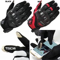 Wholesale Motorcycle Gloves Taichi - Free shipping Motorcycle Gloves 2017 New style HOT Taichi 418 Gloves Mens Driving Pilot Racing Fiber Cycling Bicycle Leather Gloves